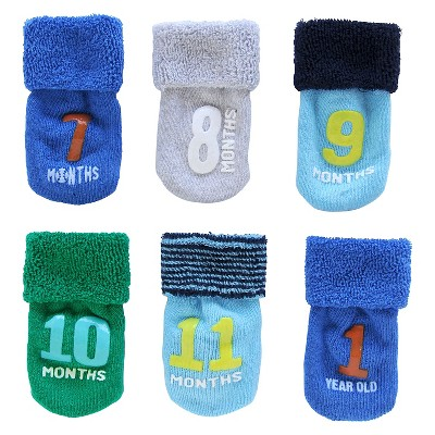 Just One You™Made by Carter's® Newborn Boys' 6pk Month Socks - Assorted 6-12 M