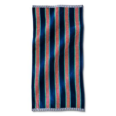Stripe Beach Towel - Navy/Red