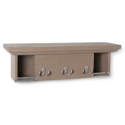Wood Wall Shelf with Metal Guards and Hooks - Grey