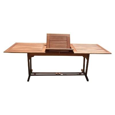 Vifah Outdoor Eucalyptus Rectangular Extention Table - Brown