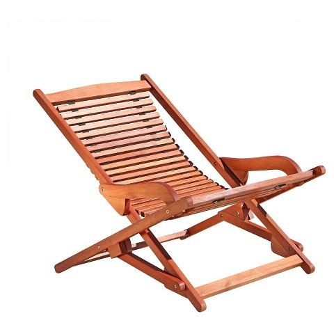 Vifah Outdoor Wood Reclining Folding Lounge Brown Tar