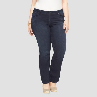 Women's Plus Size Bootcut Denim Jeans Dark Blue 14W Long-Ava & Viv