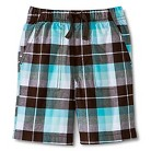 Toddler Boys Plaid Chino Short - Forest Brown