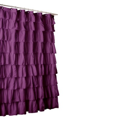 Lush Décor Large Ruffle Shower Curtain - Purple