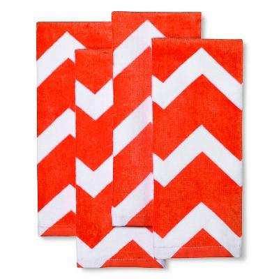 Room Essentials™ 4 Pk Chevron Terry Towels - Orange