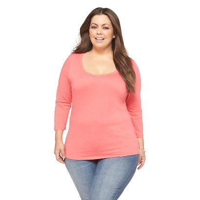 Women's Plus Size 3/4 Sleeve Scoop Neck Fashion Tee Pink 2X-Ava & Viv