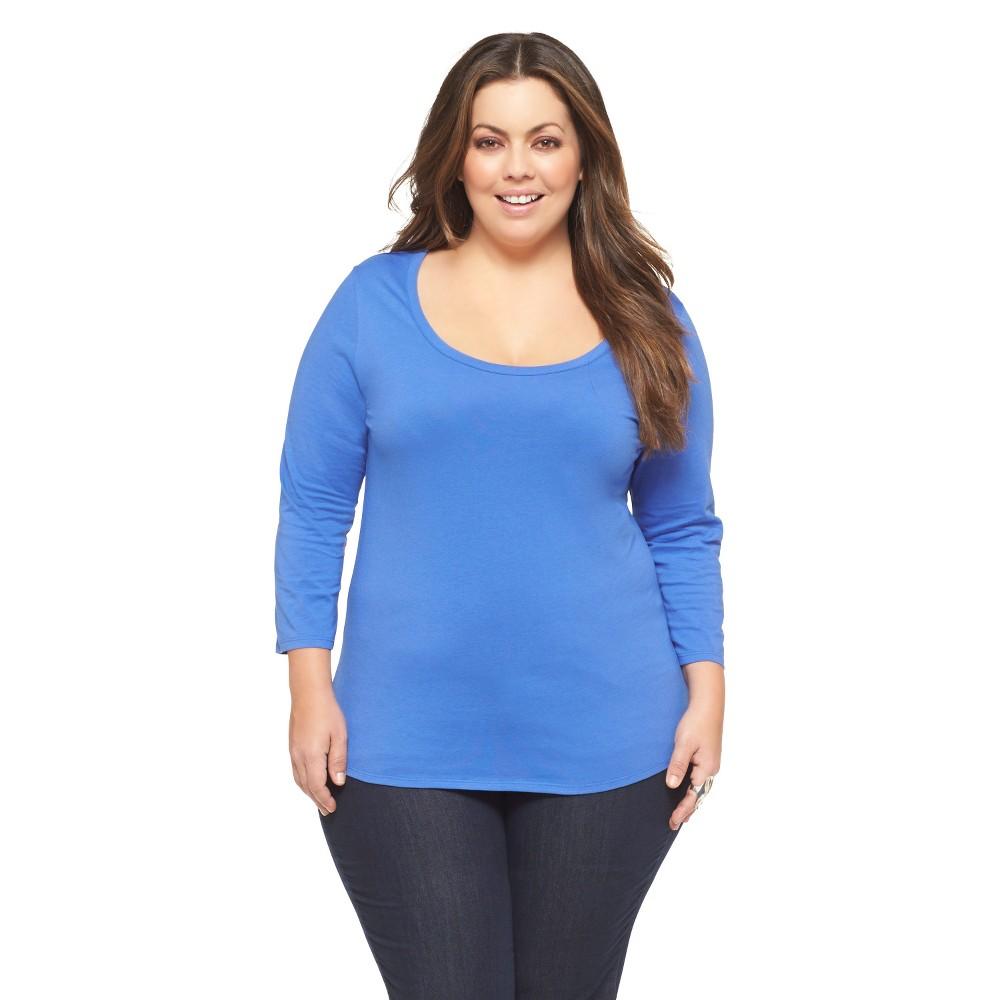 Women's Plus Size 3/4 Sleeve Scoop Neck Fashion Tee Blue 1X-Ava & Viv
