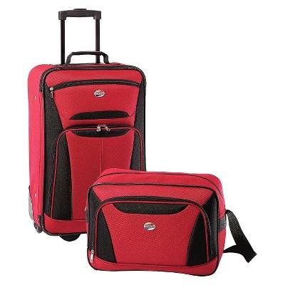 American Tourister Fieldbrook II 2pc Luggage Set - Red/Black