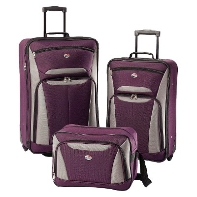 American Tourister Fieldbrook II 3pc Luggage Set - Purple/Grey