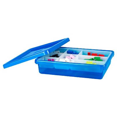 Lego Small Storage Bin with Lid and Sorting Tray - Blue