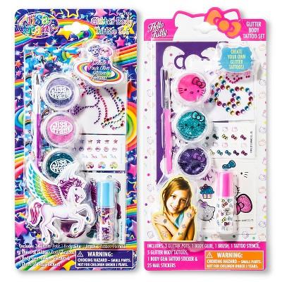 Assorted Lisa Frank/Hello Kitty Glitter Tattoo Set