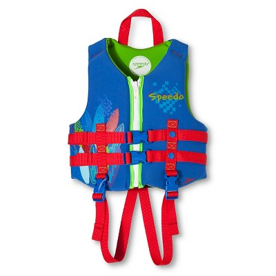 SPEEDO Youth Neoprene Child Lifevest - Blue/Red/Green