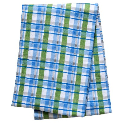 Trend Lab Blue Plaid Flannel Swaddle Blanket