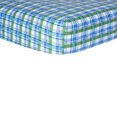 Trend Lab Plaid Blue Flannel Crib Sheet
