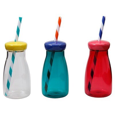 Kids Milk Bottles w/Lid & Straw Asst