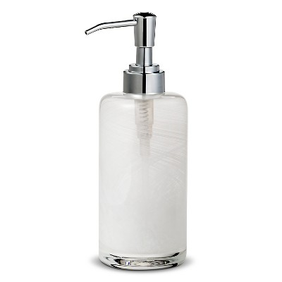 Threshold™ Swirl Glass Soap Pump - White