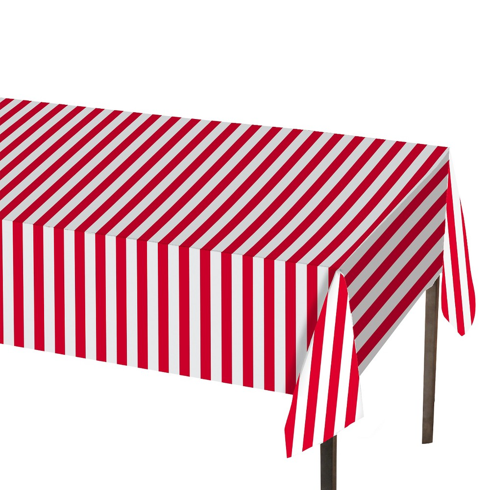 Table Cover Red and White Stripe 1 Count - Spritz, Red/White