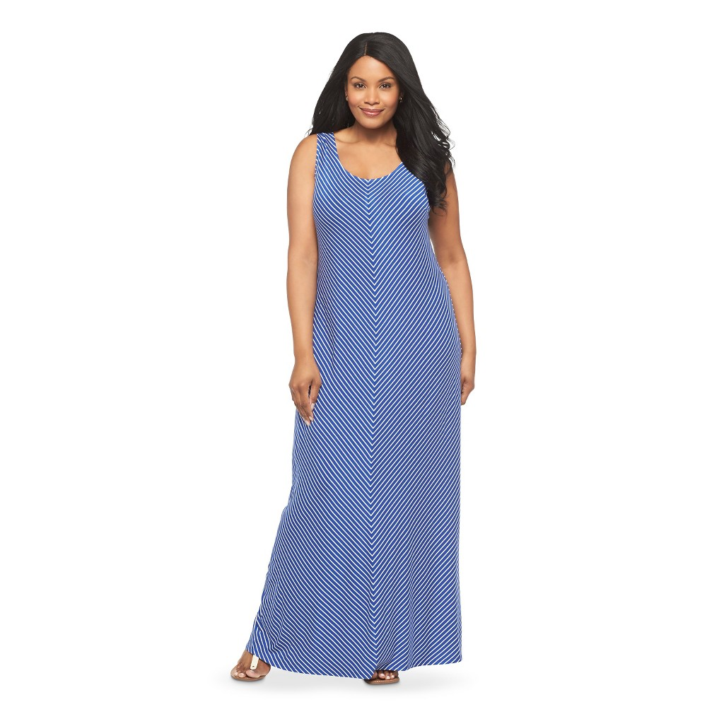 Women's Plus Size Sleeveless Maxi Dress Blue/White -Merona, Uniform Blue