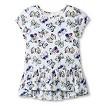 Toddler Girls' Butterfly Peplum Blouse - White