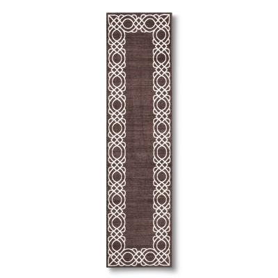 "Maples Scroll Border Runner - Grey (1'10""X7')"