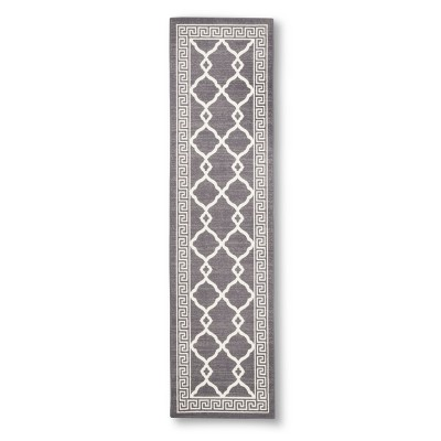 "Maples Greek Key Border Runner - Grey (1'10""X7')"