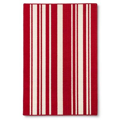"""Maples Stripe Door Mat - Red (2'6""""X3'10"""")"""