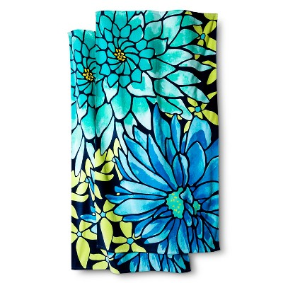 Exploded Floral 2-pk. Beach Towel - Cool