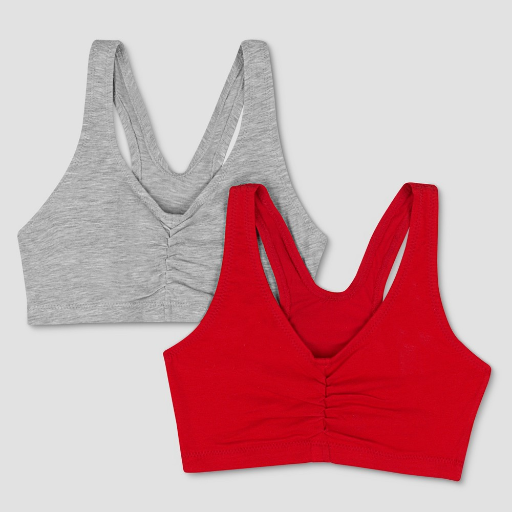 Hanes Women's ComfortFlex Fit Stretch Cotton Sport Bra H570 2-Pack - Heather Gray/Red  Heather Grey/Formula 1 Red plus size,  plus size fashion plus size appare