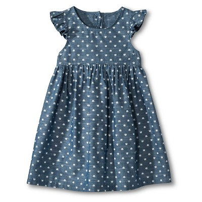 Toddler Girls Cross Back Chambray Dress - Cruise Blue 18 M