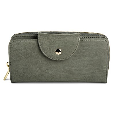 Women's Solid Snap Closure Faux Leather Wallet Gray - Merona™