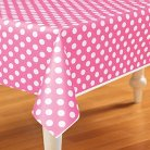 Pink/White Dots Plastic Rectangle Tablecover