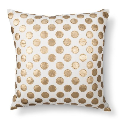 "Leather Applique Polka Dot Toss Pillow - Gold (20""x20"")"
