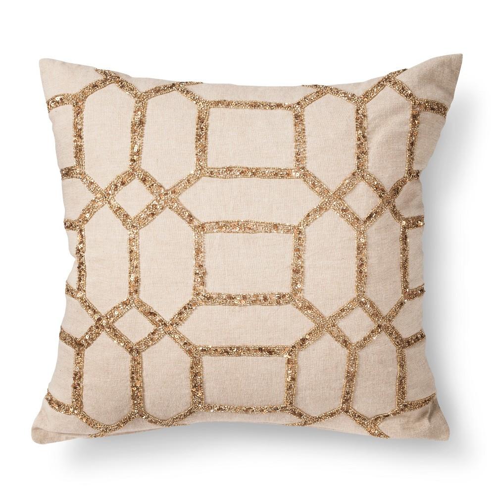 Envogue Decorative Pillows : HEXAGON BEADED TOSS PILLOW