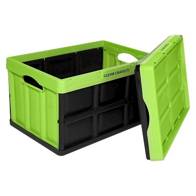 Clever Crates Collapsible Storage Tote - Kiwi Green 45 Liter