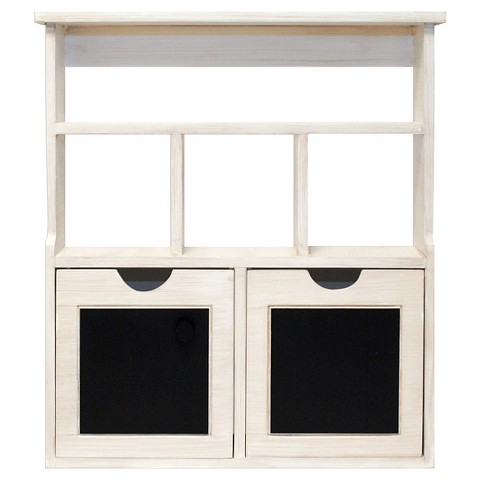 WOOD CHALKBOARD CUBBY WITH DRAWERS - WHITE on The Hunt