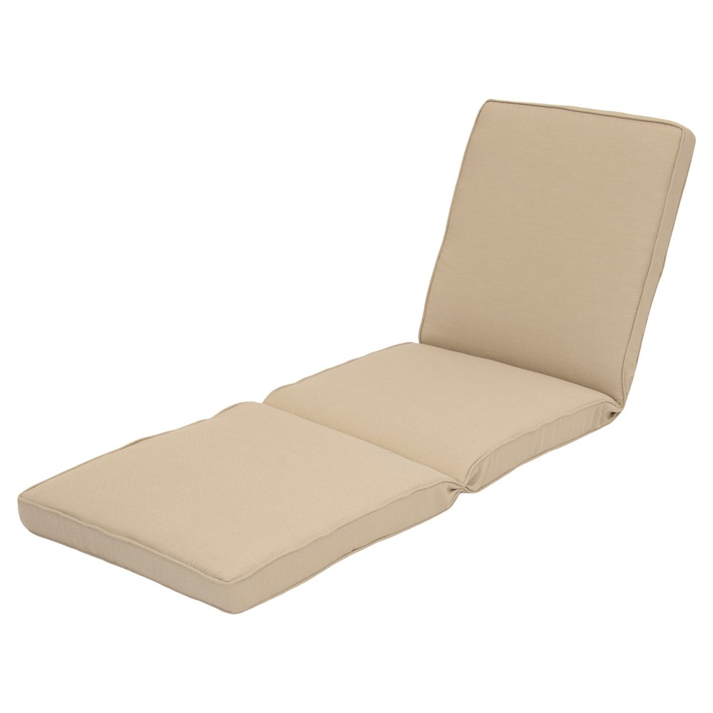 Smith hawken outdoor chaise lounge cushion beige for Chaise cushions cheap