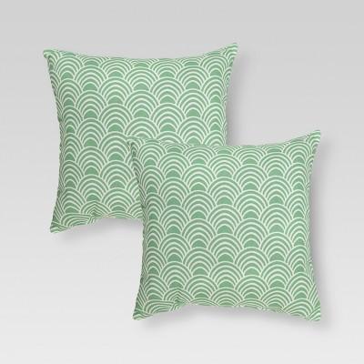 """2-Piece Outdoor 18"""" Toss Pillow Set - Seafoam Scallop - Threshold™"""