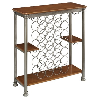 Orleans Wood Top Storage Wine Rack Metal - Silver - Home Styles