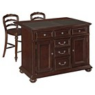 Colonial Classic Kitchen Island with Granite Top and Stools - Brown