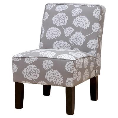 Burke Accent Print Slipper Chair - Toile Flora Light Gray