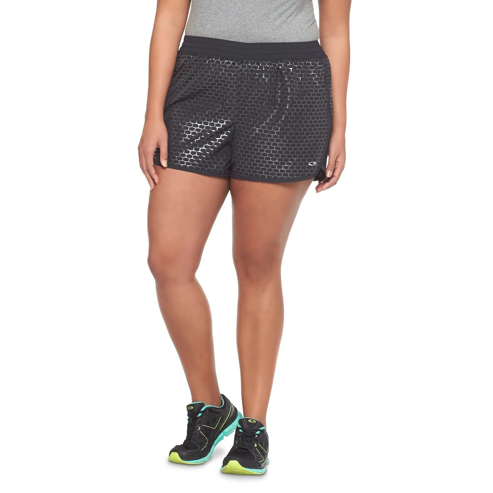 C9 Champion Women's Plus Size Woven Running Short - Black Honeycomb