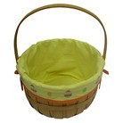 Easter Wooden Jumbo Basket With Patterned Liner - Yellow