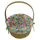 Easter Wooden Basket With Patterned Liner