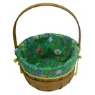 Easter Wood Basket With Patterned Liner - Green