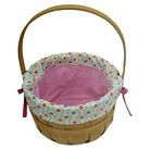 Easter Wood Basket With Patterned Liner - Pink/White