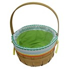 Easter Wood Basket With Patterned Liner - Green/White