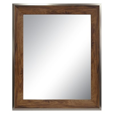 Antique Wood Modern Decorative Wall Mirror - Threshold™