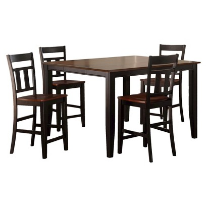 thornton 5 piece extendable counter height dining set black cherry