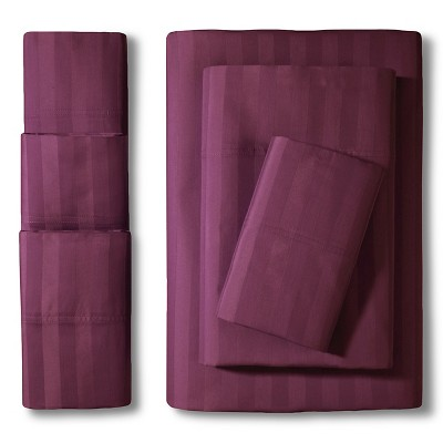 Elite Home Delray Damask 600TC 6-Pc Sheet Set - Plum (Queen)