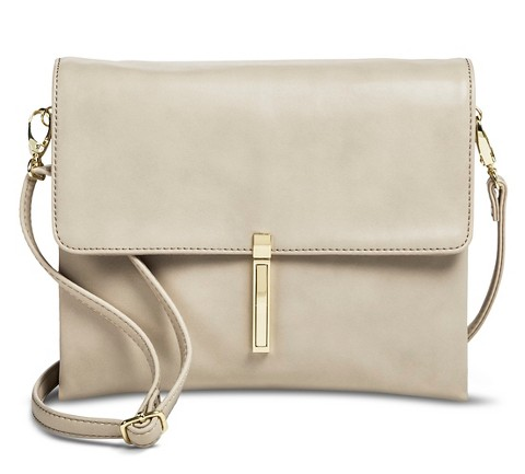 Women's Pushlock Crossbody Handbag - Tan